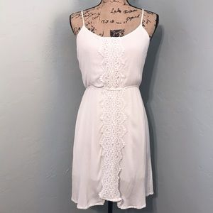 Just Be White Sundress With Crochet Appliqué